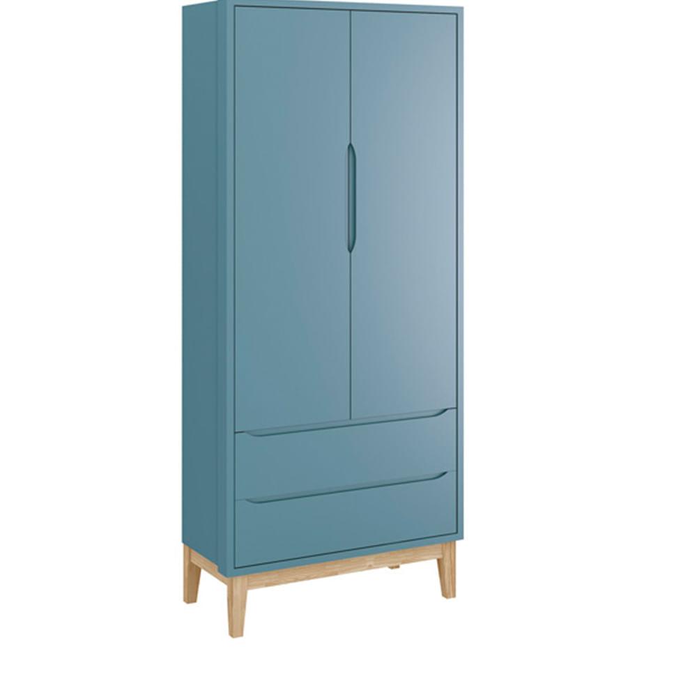 Guarda-roupa-Retro-Square-2-portas-com-Kit-Pe-em-Madeira-Natural–Azul