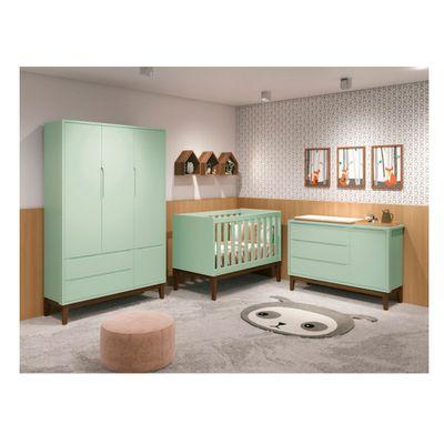 kit-quarto-infantil-square-verde-berco-comoda-com-porta-armario-3-portas