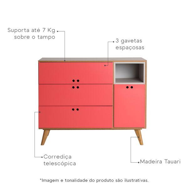 comoda-noga-com-3-gavetas-louro-freijo-vermelho-framboesa-caracteristicas