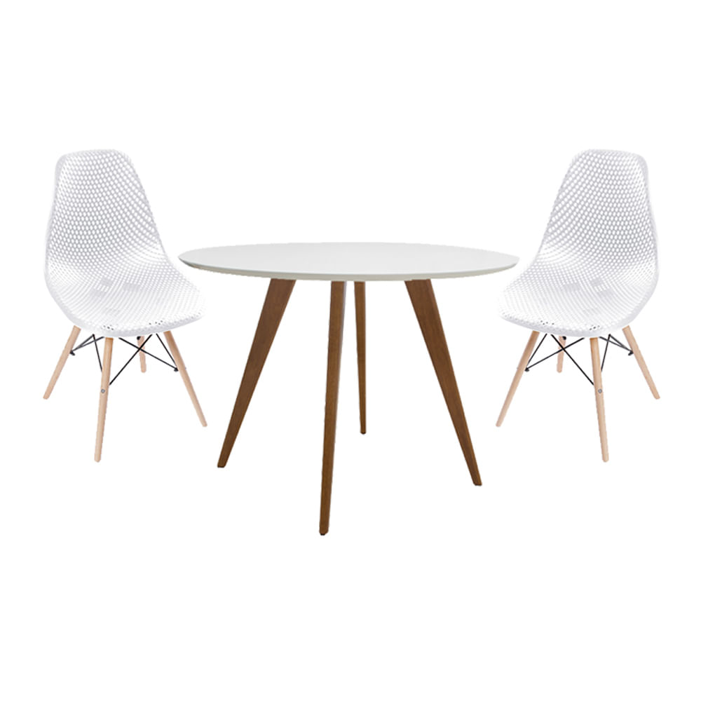 conjunto-mesa-square-redonda-tampo-branco-fosco-88cm-com-2-cadeiras-eames-colmeia-branca-com-base-madeira