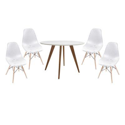 conjunto-mesa-square-redonda-tampo-branco-fosco-88cm-com-4-cadeiras-eames-colmeia-branca-com-base-madeira