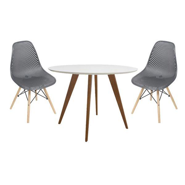 conjunto-mesa-square-redonda-tampo-branco-fosco-88cm-com-2-cadeiras-eames-colmeia-preta-com-base-madeira