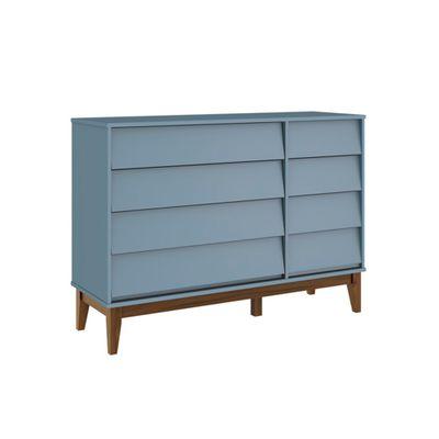 Comoda-4-gavetas-com-porta-Noah-Azul-Fosco-com-Kit-Pe-Square-Madeira