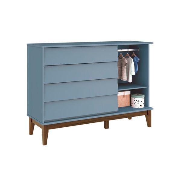 Comoda-4-gavetas-com-porta-Noah-Azul-Fosco-com-Kit-Pe-Square-Madeira--2-