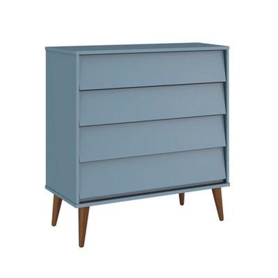Comoda-4-gavetas-Noah-Azul-Fosco-com-Kit-Pe-Retro-Madeira