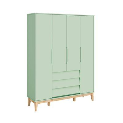 Armario-4-portas-com-3-gavetas-Noah-Verde-Fosco-com-Kit-Pe-Square-Madeira-Natural