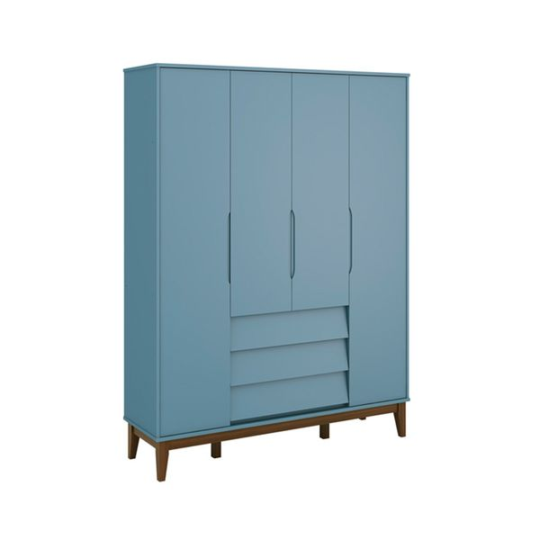 Armario-4-portas-com-3-gavetas-Noah-Azul-Fosco-com-Kit-Pe-Square-Madeira