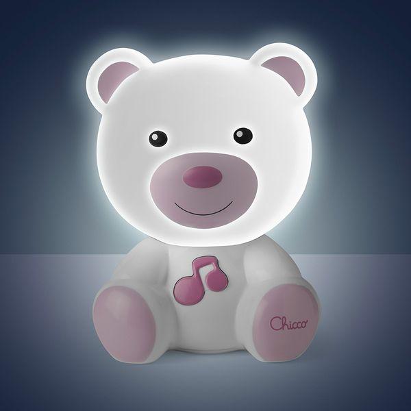 luminaria-chicco-infantil-ursinho-rosa-ligada