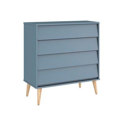 Comoda-Noah-com-4-Gavetas-e-Pes-em-Madeira-Natural-–-Azul-Fosco