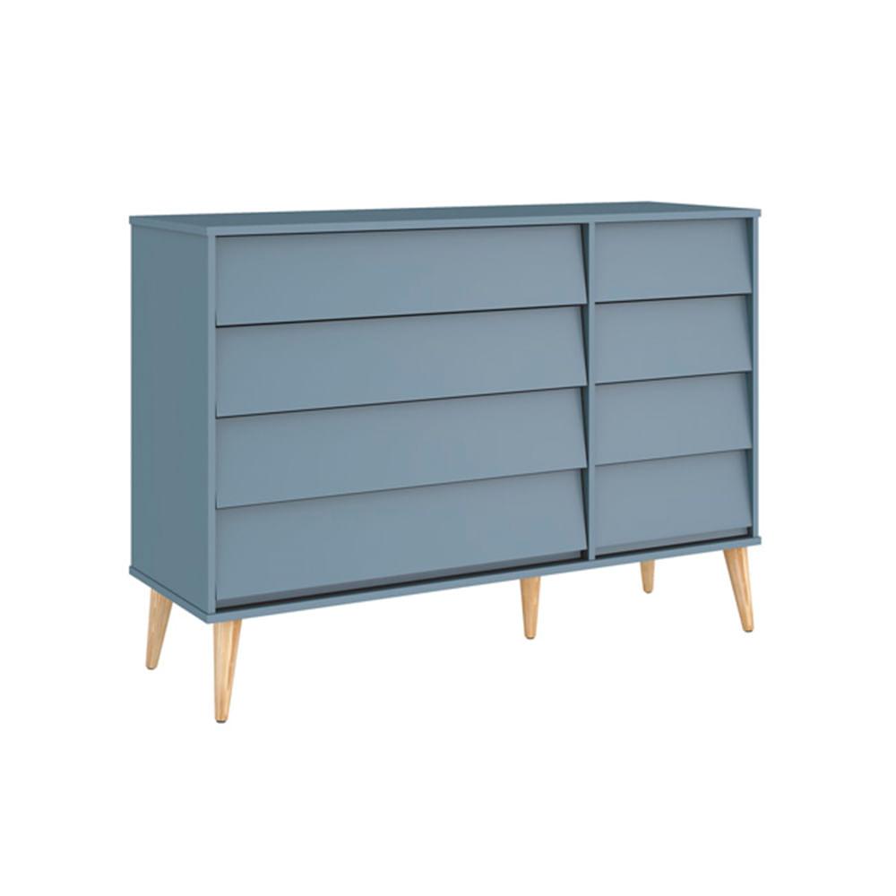 Comoda-Noah-4-Gavetas-com-porta-e-Pes-em-Madeira-Natural-–-Azul-Fosco