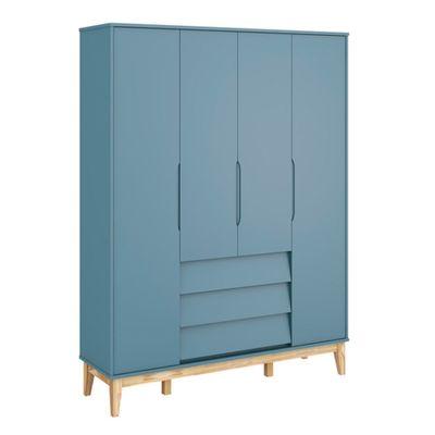 Guarda-Roupa-Noah-4-Portas-e-3-Gavetas-com-Pes-em-Madeira-Natural-–-Azul-Fosco