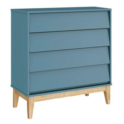Comoda-Noah-4-Gavetas-e-Pes-em-Madeira-Natural-–-Azul-Fosco