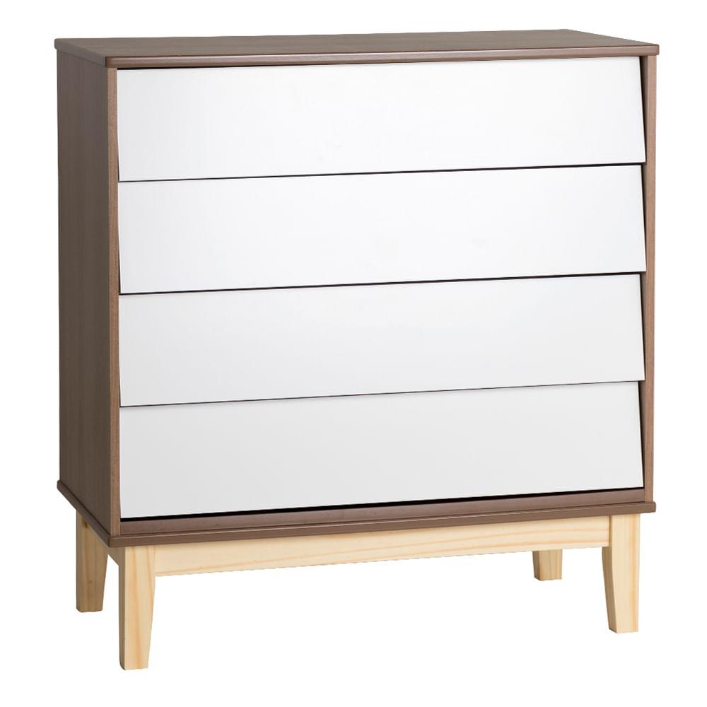 comoda-noah-4-gavetas-pes-em-madeira-natural-branco-com-mezzo-fosco