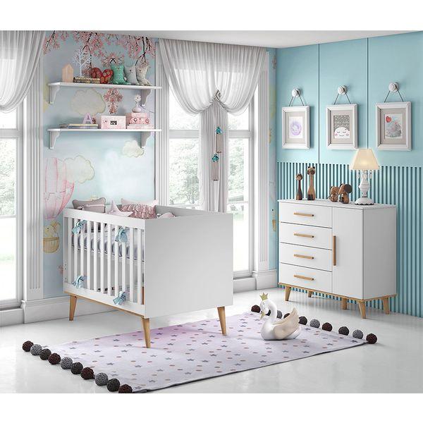 Kit-Quarto-Infantil-Ludmila-Branco---Berco---Comoda-com-Porta