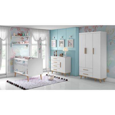 Kit-Quarto-Infantil-Ludmila-Branco---Berco---Comoda-com-Porta---Guarda-Roupa