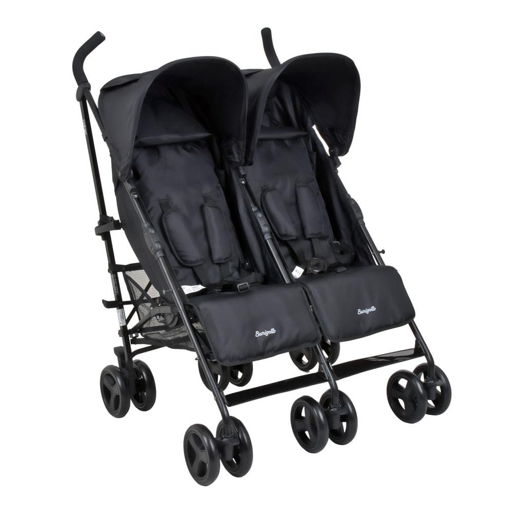 Carrinho de Bebê Burigotto Gêmeos Twingo 4 Posições - Black