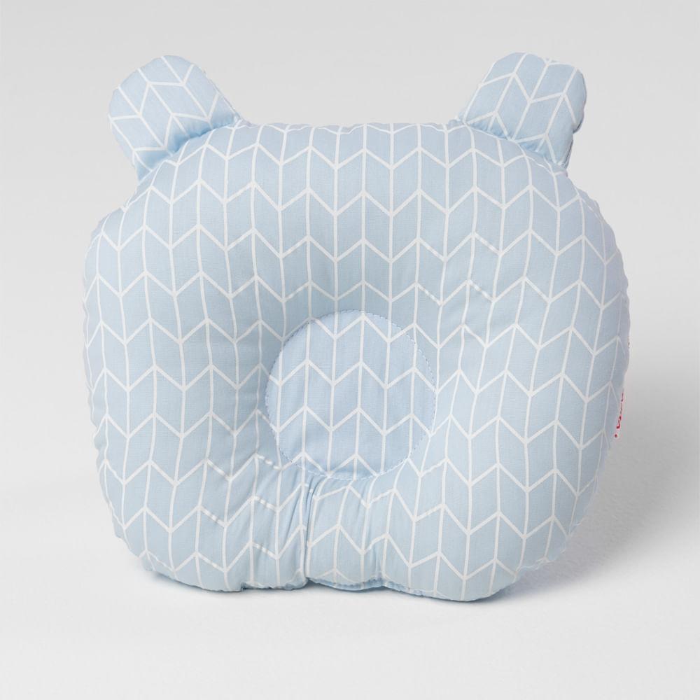 Travesseiro-Ursinho-de-Bebe-Tecido-Geometrico---Azul-Claro