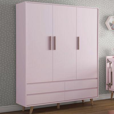 guarda-roupa-retro-3-portas-com-4-gavetas-rosa-aberta-4
