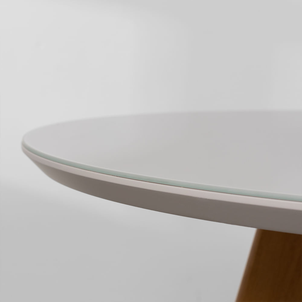 Mesa de Jantar Square Redonda Off White com Tampo de Vidro - 88cm