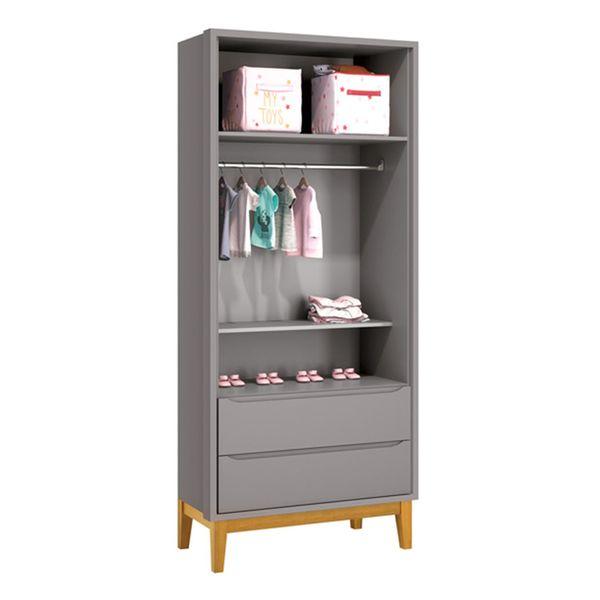 guarda-roupa-retro-square-2-portas-com-pes-em-madeira-cinza-fosco-aberto
