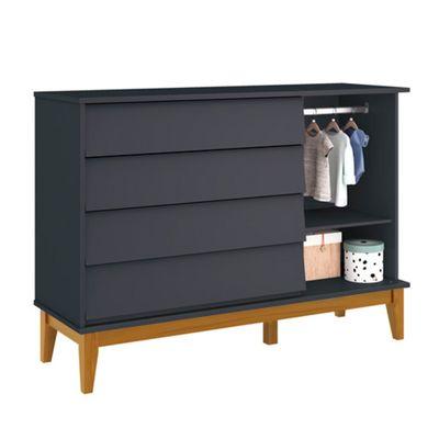 comoda-noah-4-portas-com-porta-e-pes-em-madeira-grafite-fosco-aberto